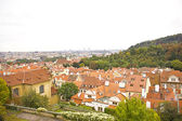 Panoramic view of Prague city from hill — Stock Photo