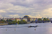 View on Prague city in autumn, above River advice and cloudy sky — Stock Photo