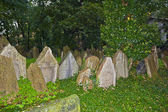 Tombstones at the old Jewish cemetery in Prague — Stock Photo