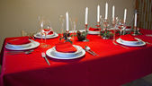 Set table at Christmas — Stock Photo