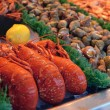 Show-window of seafood — Stock Photo