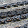 Abstract of thick rusty chain - Stock Photo