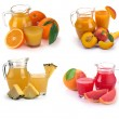 Set glass and jug of fruits juice — Stock Photo #12244761