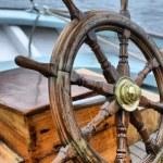 Steering wheel sailboat — Stock Photo