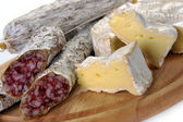 Sausage salami and cheese camembert — Stock Photo