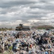 Bulldozer on a garbage dump — Stock Photo