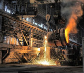 Smelting of the metal in the foundry — Foto de Stock