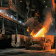 Smelting of the metal in the foundry — Stock Photo
