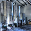 Stainless steel wine vats — Stockfoto