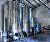 Stainless steel wine vats — Stock Photo