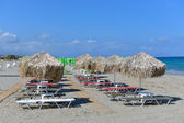 Thatched umbrellas on the beach — Stock Photo