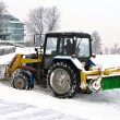 Clearing snow snowplows — Stock Photo