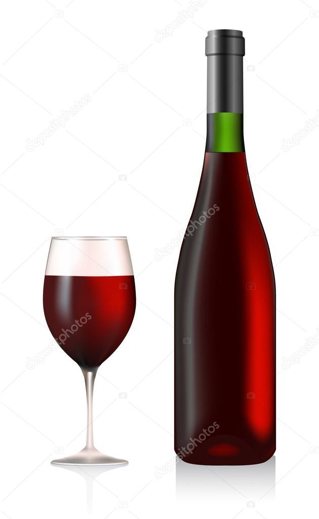 瓶和玻璃与红酒矢量 — 矢量图片作者 nikitos1977