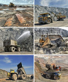 Set of images of mining equipment — Stock Photo