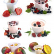 Set of images of fruit and yogurt with berries — Stock Photo #29917731