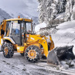 Clearing roads of snow and fallen tree — Foto Stock