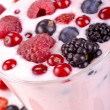 Berry yogurt with berries — Stock Photo