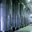Stock Photo: Stainless steel wine vats in row