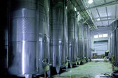 Stainless steel wine vats in a row — Stock Photo