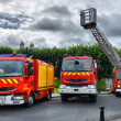 Stock Photo: Three fire trucks parked