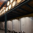 Stainless steel wine vats in a row inside the winery — Stock Photo