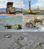 Set of images of open cast mining of iron ore — Stock Photo