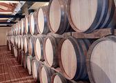 Casks in wine cellar — Stock Photo