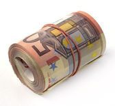 50 euro banknote folded in a roll — Stock Photo