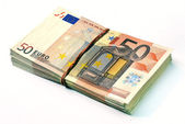 Fifty euro banknotes stack — Stock Photo