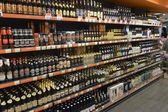 2014 Ukraine, Kiev, silpo, showcase of beer products in the supe — Foto de Stock