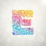 Colorful pattern alphabet. Letter E — Stock Vector