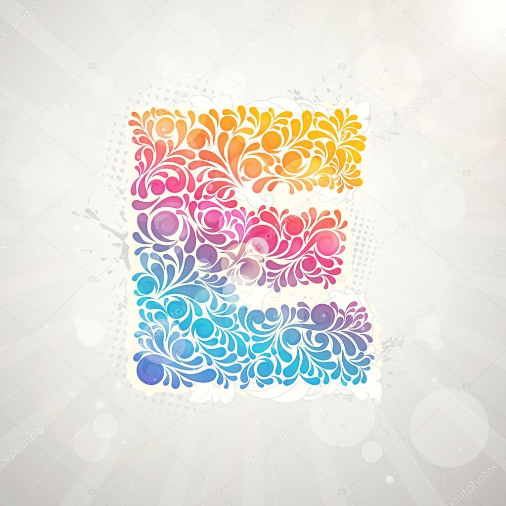 炫彩花纹字母表.字母 e
