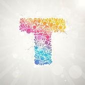 カラフルなパターンのアルファベット。手紙 t — ストックベクタ