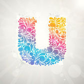 Colorful pattern alphabet. Letter U — Stock Vector