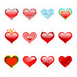 Vector set of Saint Valentine's day red hearts — Stock Vector #6365011