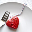 Heart on a fork — Stock Photo