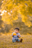 Asian 10-month old boy having fun outdoors — Stok fotoğraf