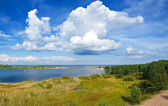 Overlooking a large lake and forest — Stock Photo