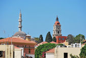 Rhodes Landmarks Suleiman Mosque and Clock Tower — Stock Photo