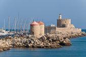 Rhodes Landmark Mandraki Port — Stock Photo