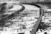 Snow covered railroad — Stock Photo