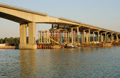 Construction of the new bridge through the river Don. Rostov-on-Don, Russia — Stock Photo