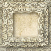 Vintage frame card for invitation or congratulation with border lace — Stock Photo