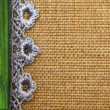 Rustic background, burlap, wood and lace — Stock Photo