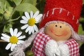 快乐的小女孩 gnome — 图库照片