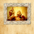 Old Christmas card, holy family — Stock Photo