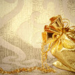 Stock Photo: Card, sack with gold jewelry