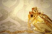 卡,黄金首饰袋 — 图库照片
