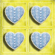 Foto Stock: Four blue hearts