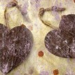 Two wooden hearts — Stok Fotoğraf #18208239